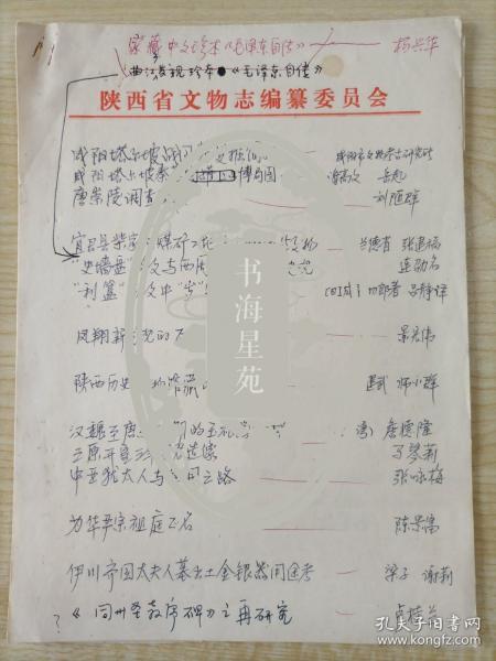《文博》编辑用陕西省文物志编篡委员会稿纸手写16开《目录》一份7页,内容颇具文献价值。
