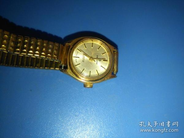 卡天龙瑞士古董金框表,表带包金,不工作了