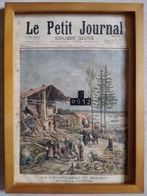 历史上的今天,1895年5月12日,一百多年前的法国套色版画,原版非复制品,长43厘米,宽31厘米,每期八版,首页尾页整版版画,其他六版为法语文字内容,首页尾页版画la catastrophe de bouzey布泽地震,另有大量生日号版画,纪念日版画,欢迎咨询 