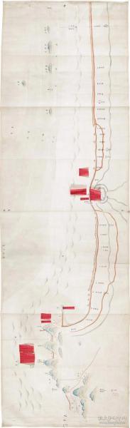 0349古地图1832 海宁州沿江塘汛舆图 清道光12年后。纸本大小50.11*163.8厘米。宣纸艺术微喷复制