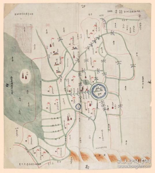 古地图1863 娄县境舆图 清同治2年前后。纸本大小55.45*62厘米。宣纸艺术微喷复制。