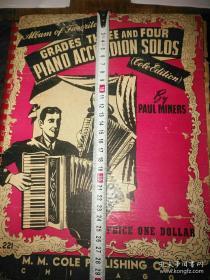 民国30年印行、美国原版《手风琴独奏曲谱》,里面都是柴可夫斯基、施特劳斯、李斯特等音乐大师作品。用纸高级大本厚册189页