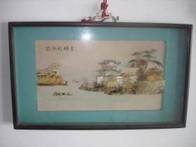 八十年代,中国贝雕画:古楼新帆(连框尺寸:50×30cm×3cm)8品