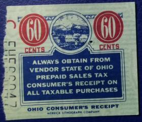 美国古典时期税票,俄亥俄州早期预付销售税60美分,高值,农业类