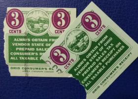 美国古典时期税票,俄亥俄州早期预付销售税3美分,农业类,1枚价