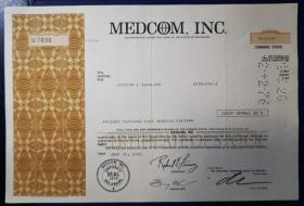 美国早期雕刻版股票,医疗公司等,历史收藏