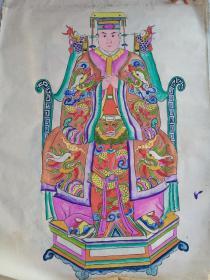 一批手工绘画大幅(老年画.帝皇神像)16张合售【保真】