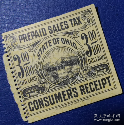 美国古典税票,俄亥俄州早期预付销售税税票3分,农业