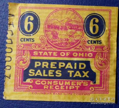 美国古典税票, 俄亥俄州早期预付营业税 ,6分