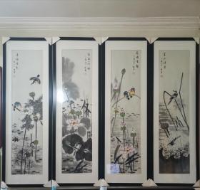 四条屏荷花池塘画,带画框,仅售西安市,西安市自提。