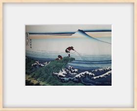 #浮世绘#葛饰北斋*《富岳三十六景——甲州石斑泽》*超大幅*纯手拓木版画 。遗珠刊行会《特雕纯手摺木版画——传统名画十二样》之十二分之一幅,是限定摺印的,而且是巨大尺寸,是有收藏价值的