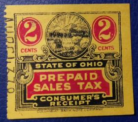 美国古典税票, 俄亥俄州早期预付营业税 , 2分