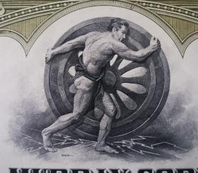 美国早期雕刻版股票,华莱士-莫里公司,大力士推轮子,历史收藏7