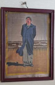 """68年国庆手工绣""""毛主席在北戴河""""丝织画(原镜框,39*53厘米)"""
