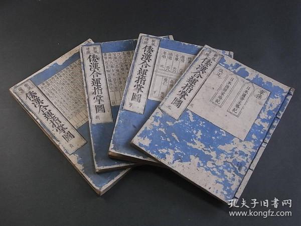 和刻本《和汉合运指掌图》4册全,中日帝王将相年代表等,享保改正版。