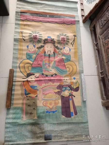 民国半印半绘木板年画财神。150/72