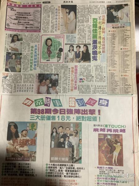 傅明宪 王靖雯 李俊鹏 杨采妮 彩页90年代报纸一张 4开