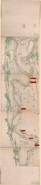 古地图1859–1875 钟祥县部堤十八工全图。纸本大小41.64*183.53厘米。宣纸艺术微喷复制。