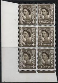 英国邮票,梅钦普票,泽西岛1958年伊丽莎白二世女王4d,六方联