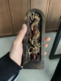 道教令牌 精品双面龙盘剑法器 手工雕刻 枣木金漆 未装藏 特价包邮