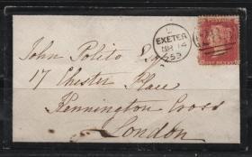 英国红便士邮票实寄封,1859年埃克塞特到伦敦,哀悼封