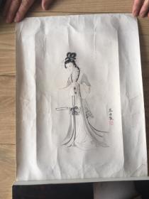 郑慕康 仕女 50年代荣宝斋木板水印  原装旧裱 画心尺寸 27.5*18 厘米  包挂刷