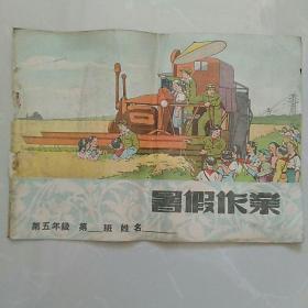 16开,1953年东北文艺出版社《小学暑假作业》。有志愿军和抗美援朝内容连环画。只有封面和封底,无内页。……少见!