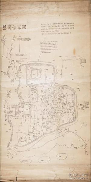 古地图1856 江宁省城图 清咸丰6年。纸本大小62*123.33厘米。宣纸艺术微喷复制。