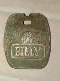 箱31,香港联发集团 BILLY比利 牛仔品牌 早期广告铜牌,3.5*3*0.3cm