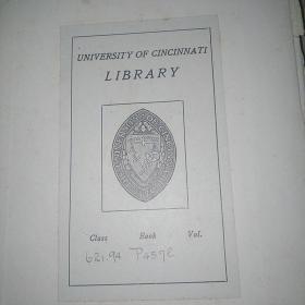 民国老版,精美英文机械书,只此一本,书脊破裂,缺少版权页,第一页和第二页
