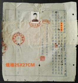 1956年,四川省永川中学校修业证明书,背有修补,如图