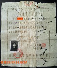 1959年,四川省南充长乐初级中学校临时毕业证明书