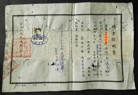 1955年,四川省成都第九中学(树德中学)修业证明书,原甫澄中学男生部,背有修补