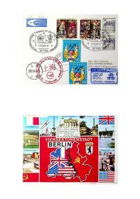 德国汉莎航空2002年3月15日慕尼黑空客A340首航上海实寄片 分销85号邮件处理中心首航戳和首航纪念戳及上海江镇戳 本片使用加盖希梅尔佛特(Himmelpfort)圣诞节邮政局01年12月17日纪念戳的圣诞节邮票纪念卡实寄(背面图案有趣) 已销戳邮政用品又用于首航实寄少见