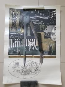 著名青年版画家 草图一张(印刷品,有签名),其他原版版画10张(无签名)