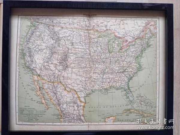 120年前的美国地图,1897年印制,原版非复制品,长45厘米,宽35厘米。仅此一张。