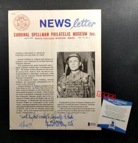 """""""朝鲜战争联合国军总司令"""" 李奇微 亲笔签名博物馆关于其慈善捐赠藏品的宣传印刷册 ,由三大签名鉴定公司之一Beckett(BAS)提供鉴定"""
