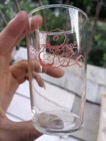 上世纪80年代卡通花卉星星图案玻璃杯