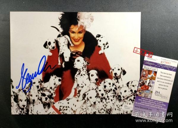 """""""101斑点狗,无冕影后"""" 格伦·克洛斯 签名照片(8×10英寸) 由三大签名鉴定公司之一JSA鉴定"""