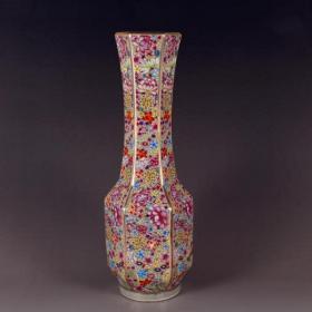 清珐琅彩万花纹花瓶
