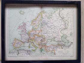120年前的欧洲地图,1897年印制,原版非复制品,长45厘米,宽35厘米。仅此一张。