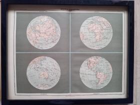 120年前的地球半球地图,1897年印制,原版非复制品,长45厘米,宽35厘米。仅此一张。