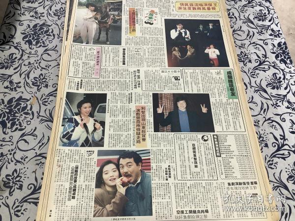 胡慧中 王杰 成龙 杨羚 刘玉婷 刘丹  彩页  90年代报纸1张4开