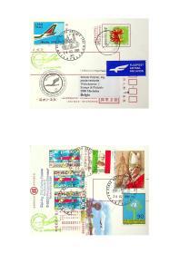2009年2月28日意大利米兰A319首航比利时布鲁塞尔实寄封  本套封使用已销台北金南戳的九十二年全国邮展生肖羊年邮资封实寄 一国实寄封又在其他两国间用于首航实寄罕见