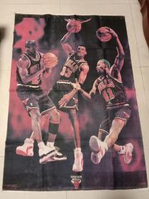 CHICAGO  BuLLS:芝加哥公牛队布面明星海报76cmX110cm(有折叠印)
