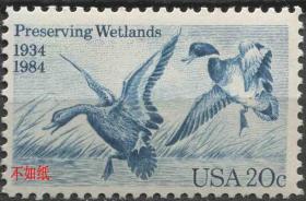 美国邮票 1984年 保护湿地 水鸟 野鸭 雕刻版 1全新