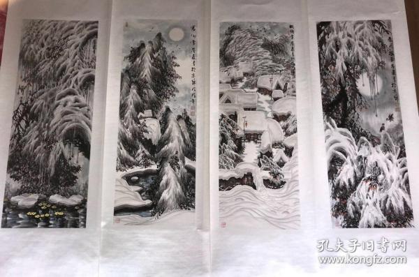 精品!当代冰雪山水宗师张誉远塞外冰雪风光四条屏已裱轴。作品保真!