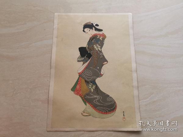 浮世绘  日本明治时期的风俗画  彩色人物版画一张  品相如图