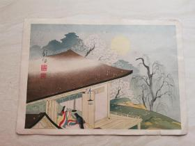 五彩版画 浮世绘  日本明治时期的风俗画  一张    品相如图