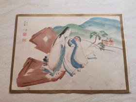 日本浮世绘  明治时期的风俗画   五彩色人物版画一张  品相如图